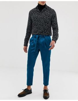 Asos Design Slim Crop Smart Pants In Turquoise High Shine With Tie Waist Detail by Asos Design