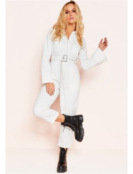 Rona White Button Up Belted Utility Jumpsuit by Missy Empire