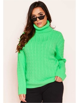 Isla Neon Green Roll Neck Knitted Cable Jumper by Missy Empire