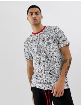 Asos Design Relaxed T Shirt With All Over Leopard Printand Contrast Red Neck Two Piece by Asos Design