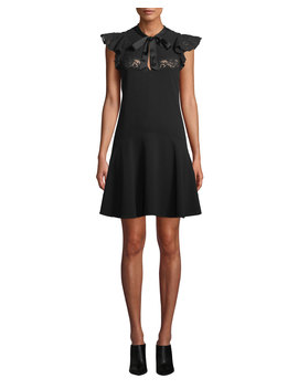 Sleeveless Crepe Tie Neck Lace Short Dress by Rebecca Taylor