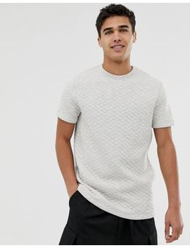 Asos Design T Shirt With Quilting In Gray Marl by Asos Design