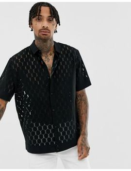 Heart & Dagger Boxy Lace Shirt In Black by Heart & Dagger