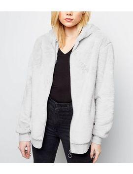 Pale Grey Faux Fur Zip Front Hoodie by New Look