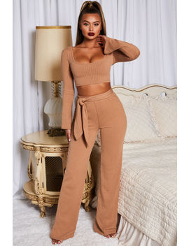 Hands Are Tied Wide Leg Two Piece In Camel by Oh Polly