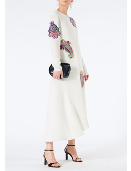 Silk Paisley Patch Asymmetrical Dress With Fringe by Tibi