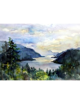 Columbia Gorge 308   Signed Print By Watercolor Artist Bonnie White by Etsy