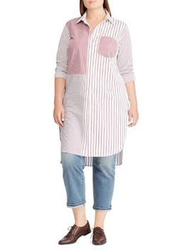 Plus Striped Cotton Shirtdress by Lauren Ralph Lauren