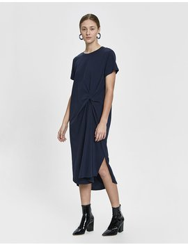 Nadine Twist T Shirt Dress In Navy by Which We Want