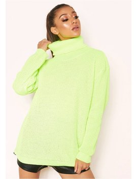 Harper Neon Yellow Knit Roll Neck Jumper by Missy Empire