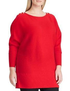 Plus Ribbed Button Shoulder Sweater by Lauren Ralph Lauren