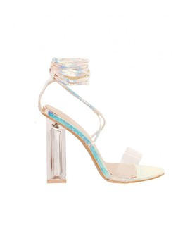 Tillie Holographic Snake Print Lace Up Perspex Heels by Missy Empire