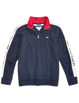 Toddler Boys Colorblocked Quarter Zip Cotton Pullover by Tommy Hilfiger