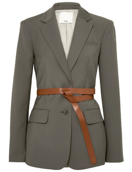 Tablier Belted Woven Blazer by Tibi