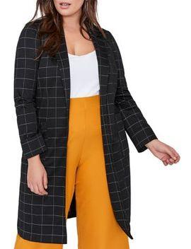 Plus Long Plaid Jacket by Addition Elle Michel Studio