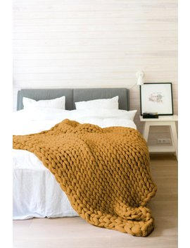 Chunky Knit Throw From Premium Quality Organic Merino Wool. Super Soft, Anti Allergic And Sustainable Wool Blanket In Mustard Yellow Color. by Etsy