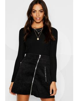 Zip Front Cord A Line Mini Skirt by Boohoo