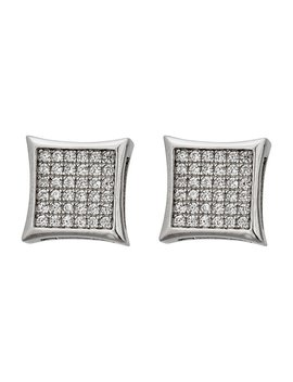 Decadence Sterling Silver Micropave Men's Hip Hop Stud Earrings by Decadence