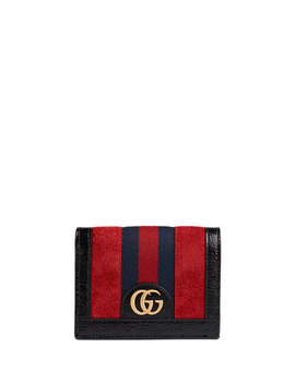 Ophidia Suede Flap Card Case by Gucci