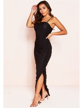 Daphne Black Ruched Detail Maxi Dress by Missy Empire