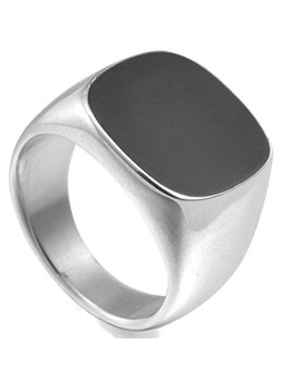 Jude Jewelers Stainless Steel Black Enamel Signet Ring by Jude Jewelers