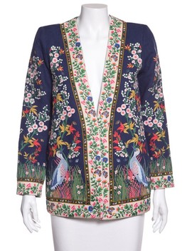 Blue Jenice Floral Embroidered Long Linen Bla Blazer by Alice + Olivia