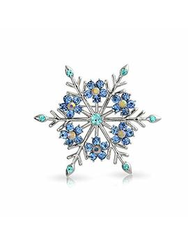 Crystal Christmas Flower Snowflake Brooch Pin Rhodium Plated by Amazon