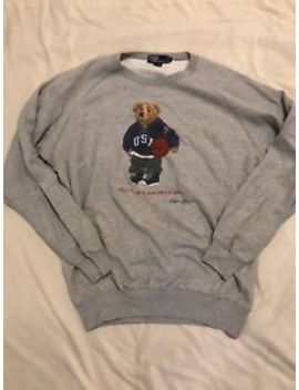 Vtg Polo Ralph Lauren Bear Crewneck Sweatshirt Basketball Men's Large Usa Retro by Polo Ralph Lauren