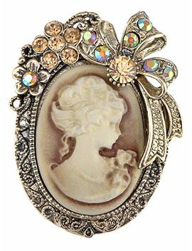 Alilang Vintage Inspired Crystal Rhinestone Victorian Lady Cameo Brooch Pin Maiden Flower Ribbon Bow Pendant by Amazon