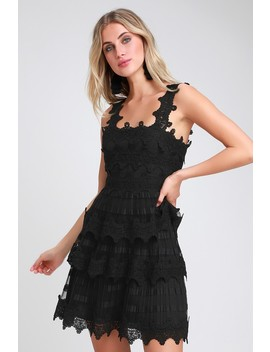 Sass And The City Black Lace Tiered Flounce Dress by Lulus