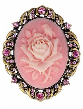 Alilang Vintage Inspired Antique Reproduct Rose Pink Crystal Flower Cameo Pin Brooch by Amazon