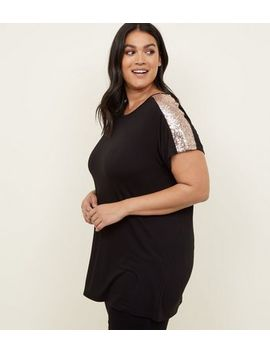 Curves Black Sequin Sleeve T Shirt by New Look