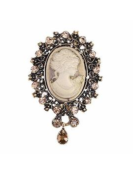 Lureme® Vintage Elegant Victorian Lady Beauty Cameo With Crystal Brooch Pin (Br000017) by Amazon