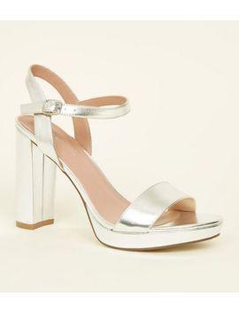 Silver Metallic Block Heel Platform Sandals by New Look