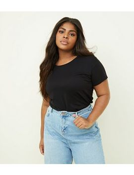 Curves Black Cotton Blend T Shirt by New Look