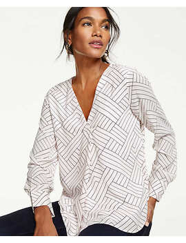 Geo Pleated Mixed Media Top by Ann Taylor