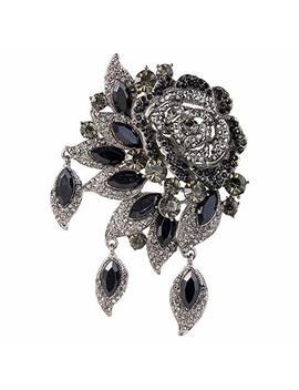Ever Faith Rose Flower Leaf Brooch Pendant Austrian Crystal by Amazon
