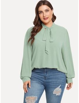 Plus Tie Neck Buttoned Cuff Top by Shein