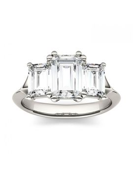 Forever One 2.91 Ctw Emerald Colorless Moissanite Three Stone Engagement Ring In 14 K White Gold by Charles And Colvard