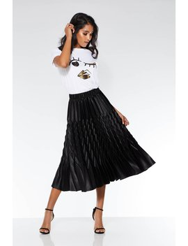 Black Satin Pleated Zig Zag Skirt by Quiz