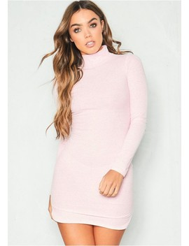 Verena Pink Roll Neck Jersey Mini Dress by Missy Empire