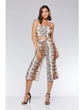 Brown And Orange Snake Print Culotte Trousers by Quiz