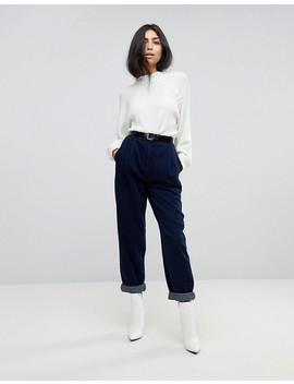 Asos Design   Jeans Stretti In Fondo Lavaggio Indaco Con Cuciture Ricurve E Cintura by Asos