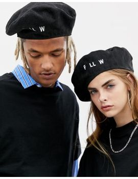 Collusion Unisex Cord Beret With Embroidered Slogan by Collusion