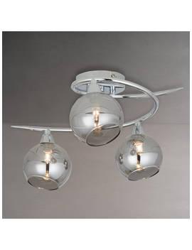John Lewis & Partners Ribbon Semi Flush, 2 Arm Smoked Glass Ceiling Light, Chrome/Grey by John Lewis & Partners