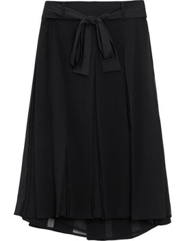 Tie Waist Pleated Georgette Skirt by Burberry