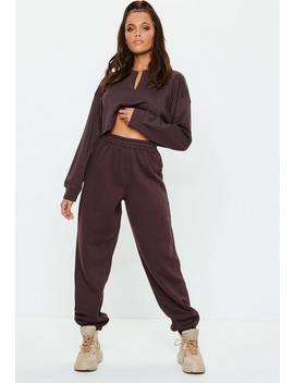 Petite Brown 80s Brush Back Joggers by Missguided