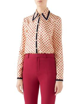 Heart & Clover Gg Silk Twill Blouse by Gucci