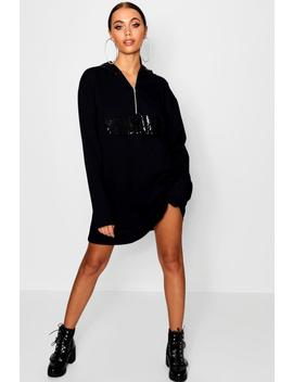 Sequin Detail Hooded Sweat Dress by Boohoo