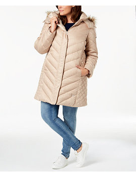 Plus Size Faux Fur Trim Quilted Panel Puffer Coat by Kenneth Cole